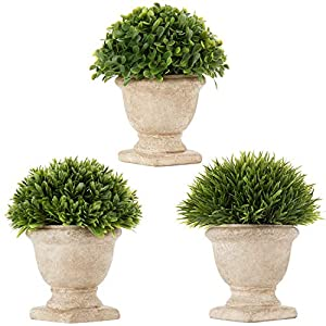 Silk Flower Arrangements Artificial Potted Plants Faux Topiary Shrubs Fake Plants Greenery Small Plant Decorations for Home Office Desk Kitchen Bathroom Room Shelf Decor