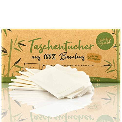 bambuswald© nachhaltige Taschentücher 100% Bambus | Großpackung je 360 Blatt - 3 lagig saugstark & gebleicht | holzfreies Papiertaschentücher in plastikfreier Verpackung | Nasentüscher Schneuztuch
