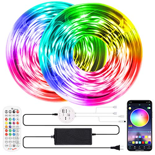 LED Strip Lights 65.6ft RGB LED Strip Lights SMD 5050 LED Lights,Music sync Color Changing Strip Lights with 40 Keys Remote+Bluetooth Controller Led Lights Strip for Home TV Party Decoration