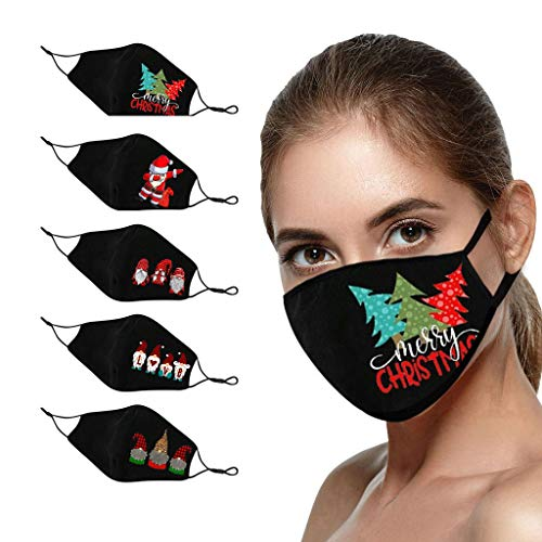 Lomelomme 5 Stücke Weihnachts Mundschutz Tuch Erwachsene Baumwolle Waschbare Atmungsaktiv Lustig Bunt Mit Motiv Mund und Nasen Maske und Nasenschutz Halstuch