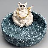 Lindo cenicero de cerámica de cerdo,adornos creativos para la decoración hogar,bote basura escritorio de 10.5 * 8 cm,caja de almacenamiento para oficina,sala estar,jardín,regalos automóvil,ceniceros