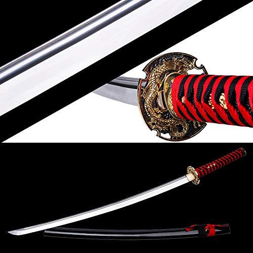 siwode Full Tan Handmade Sharp Sword, Alloy Golden Dragon Tsuba Japanese Ninja Samurai Katana Bo-Hi(High Carbon Steel 1060) 40-Inch