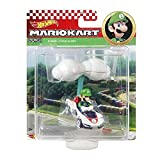 Hot Wheels Die-Cast Mario Kart Luigi in P-Wing Kart with Cloud Glider