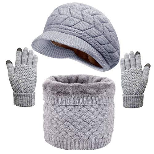 LYworld Gorras Invierno con Bufanda y Guantes Mujer Moda Calentar Sombreros Gorras de Punto Forro de Lana Guantes Táctiles Deportes de Invierno