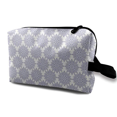 Blue Mandala_3203 Portable Hanging Travel Toiletry Bag Cosmetic Makeup Bag PU Women and Girls Blue Flowers