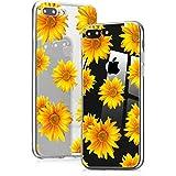 Idocolors Custodia iPhone X/XS Cover Protettiva Custodia in Silicone TPU per Apple iPhone X/XS Backcover Cellulare Trasparente Fiore Girasole