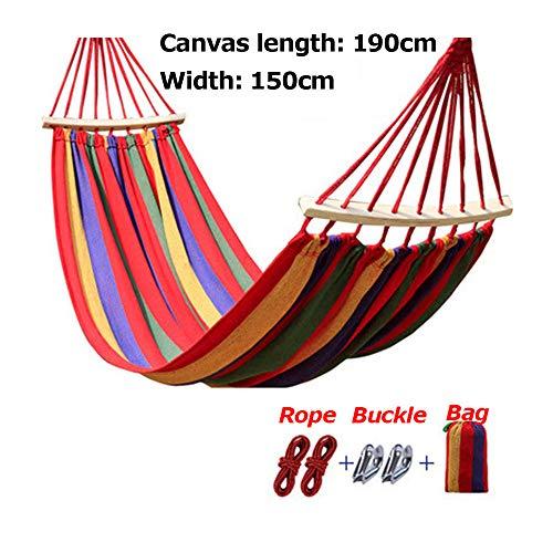 Buiten canvas reishangmatten met canvas tas, ultralichte campinghangmat, draagbaar strandschommelbed, hangend hangend binnenbed voor buiten,150cm