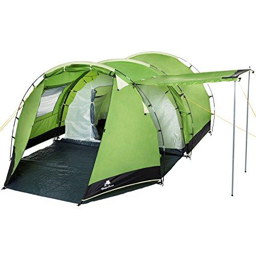CampFeuer Tunnelzelt für 4 Personen Super+ | Großes Familienzelt mit 2 Eingängen und 3.000 mm Wassersäule | Gruppenzelt | Campingzelt (Grün/Schwarz)