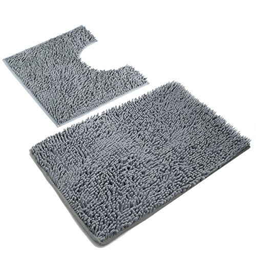 Vdomus Microfiber Bathroom Contour Rugs Combo, Set of 2 Soft Shaggy Non Slip Bath Shower Mat U-Shaped Toilet Floor Rug (Dark Gray)
