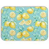 Lemon Dish Drying Mat for Kitchen Counter - 18' x 16' inch Microfiber Dish Mat Absorbent Drying Pad Dish Drainer Mats for Countertop Heat-resistant and ECO Friendly - Blue