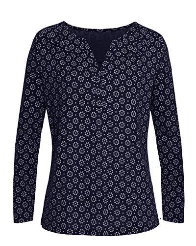 Yidarton Camiseta básica para mujer, camiseta de manga corta con estampado minimalista, holgada, elástica, para verano Manga larga azul. L