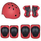 WanXingY Protección Gear Set Equilibrio del Coche del Protector de la Rodilla Montar a Caballo de los niños Coderas Casco Ajustable Hebilla con múltiples Diseño de ventilación (Color : Red)