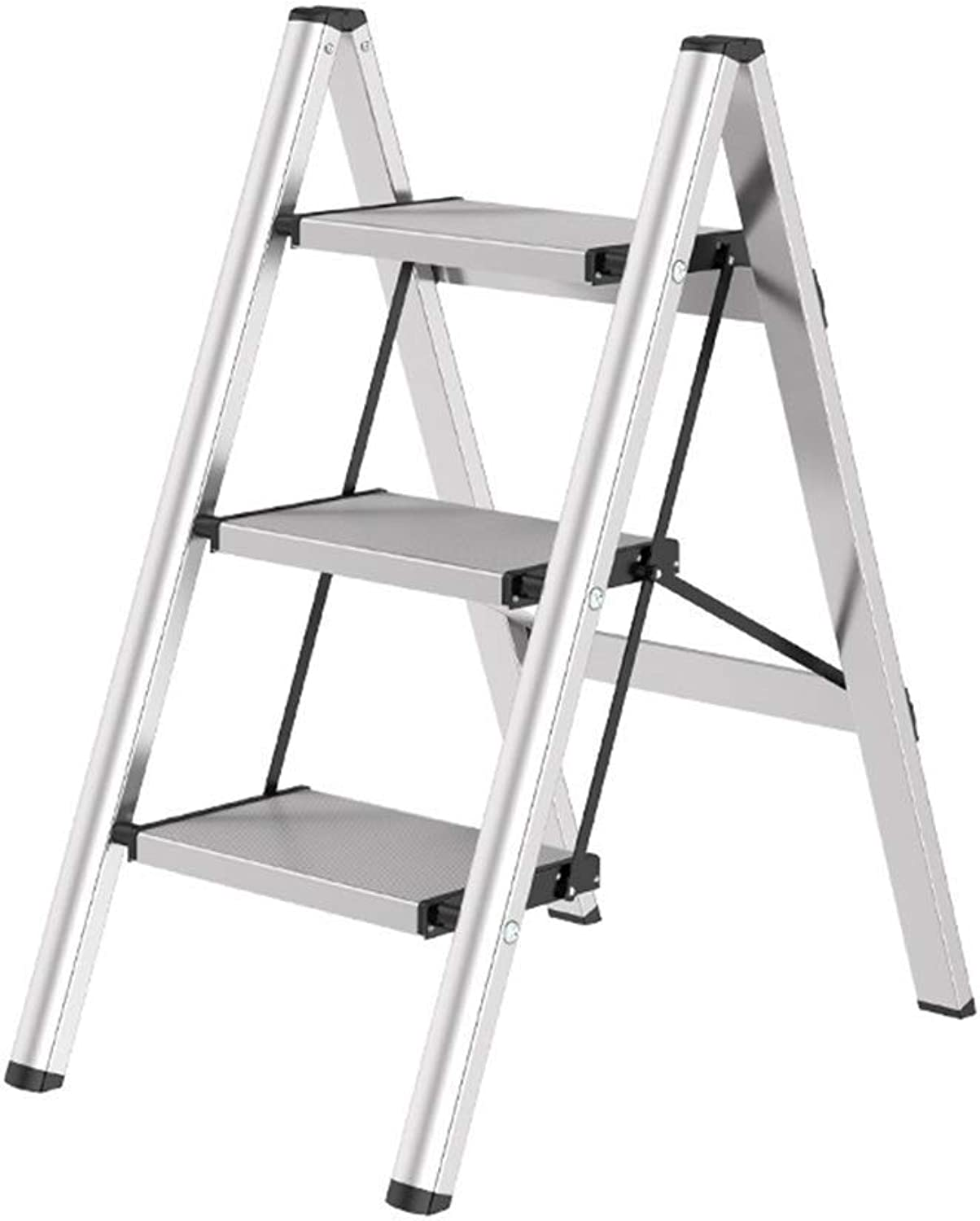 S&RL shoes Seat Stool Storage Ladder Stool Stepladders al Thick Aluminum Folding Ladder Household Portable Step Stool Housing Multifunctional Stools, White, 45  67.5  81cm