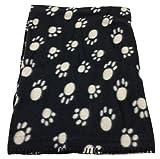 Haustierdecke Hundedecke Fleece Decke Katzendecke Tierdecke Liegedecke Pfötchen (schwarz, 80 x 120)