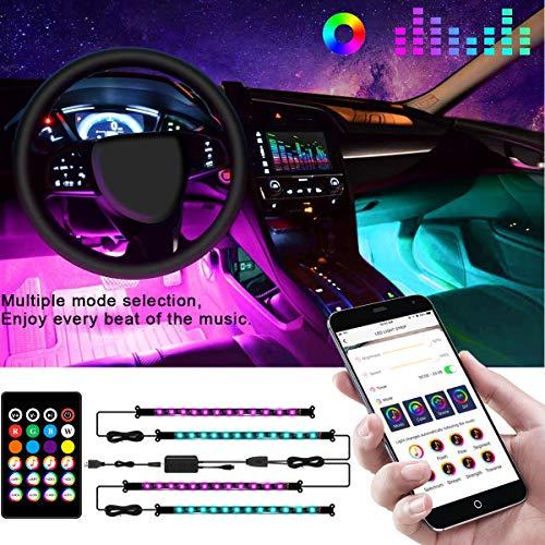 Auting Auto Innenbeleuchtung Led, 4 Stück 48 LEDs mehrfarbig Auto RGB Strips Wasserdichte Innenraumbeleuchtung with 3M GUM, APP Steuerbare mit Musik Synchronisation, USB-Port und Fernbedienung,DC 12 V
