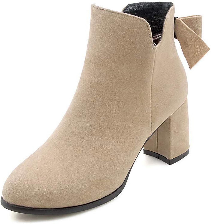 AN Womens Chunky Heels Bows Zipper Imitated Suede Boots DKU02094