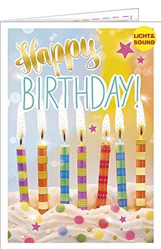 Geburtstagskarte mit Musik u. Licht - Musikkarte Kerzen, Happy Birthday