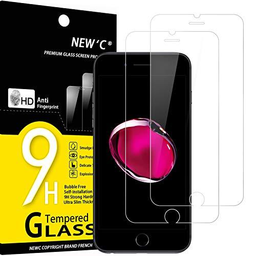 NEW'C 2 Pezzi, Vetro Temperato per iPhone 7, iPhone 8 (4.7'), Pellicola Prottetiva Anti Graffio, Anti-Impronte, Senza Bolle, Durezza 9H, 0,33mm Ultra Trasparente, Ultra Resistente