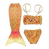 lefeindgdi Vestido de sirena, disfraz de sirena de princesa, traje de baño para niños, bonito disfraz de cola para cosplay, fiesta de cumpleaños de verano