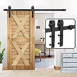 Smartxchoices Heavy Duty Sliding Barn Door Hardware Kit Single Door Rail System w/Track Roller Stopper Black… (6.6FT)