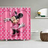 FANG2018 Cortina de Ducha Impermeable en Tela de poliéster con Estampado de Mickey Mouse Cortina de baño Lavable Dibujos Animados Home Girl Baño Decoración Cortinas (1)