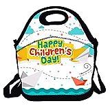 N / A Bolsa de Almuerzo Bolsa de Mano portátil Caja de Almuerzo Happy Children 'S Day Recipiente de Comida Aislado para niños y niñas Oficina de Picnic Escolar