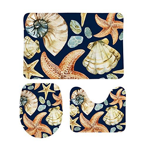 Hapuxt Bathroom Mat Bath Rug Sets Nautical Sea Shells Starfishes Extra Soft Coral Fleece Absorbent Non Slip Machine Washable Toilet Seat Cover Lined with Sponge 3 Piece