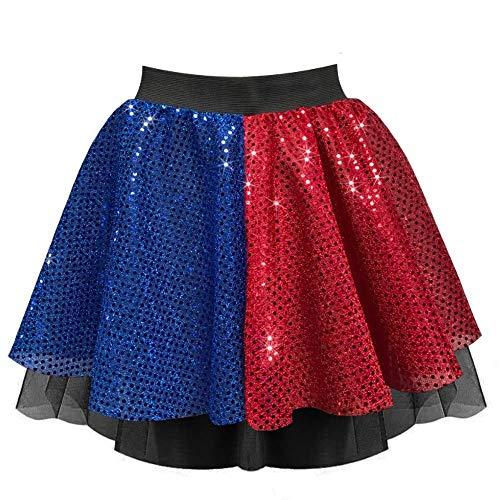 Harley-Rock für Damen, Rot / Blau, 4 Stile – Harlekin-Super-Bösewicht, Halloween-Kostüm Gr. 40, Paillettenrot-blauer Rock