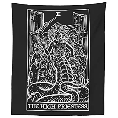 "The High Priestess Tarot Card Tapestry (Black & White) - Medusa - Greek Mythology Home Decor Wall Hanging (60"" x 50"")"