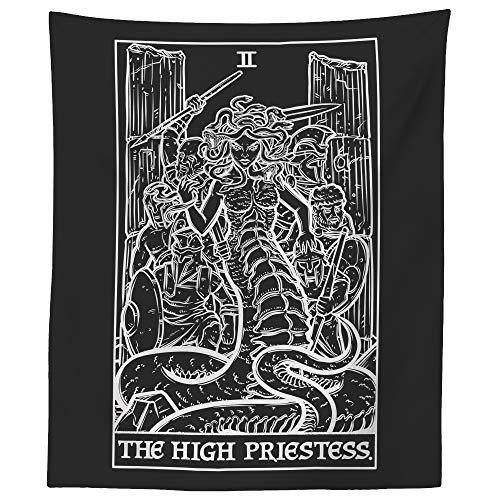 The High Priestess Tarot Card Tapestry (Black & White) - Medusa - Greek Mythology Home Decor Wall Hanging (60' x 50')