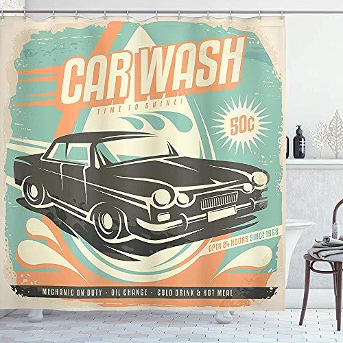ASDAH Auto's Douchegordijn Retro Auto Wassen Poster Mechanische Reparatie Reiniging Grunge Advertising Doek Stof Badkamer Decor Set met Haken Turkoois Oranje 66 * 72in