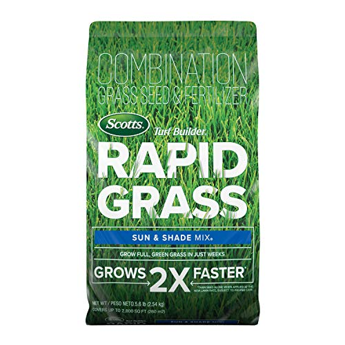 Scotts Turf Builder Rapid Grass Sun & Shade Mix: up to 2,800 sq. ft., Combination Seed & Fertilizer, Grows in Just Weeks, 5.6 lbs