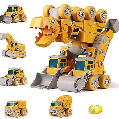 Juguetes de robot de dinosaurio para niños 3 4 5 6 7 8 9 10 años de edad, niños y niñas, 5 en 1, vehículos de construcción desmontables, transforman los coches de juguete de robot de dinosaurio STEM