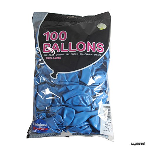 1 Sachet de 100 Ballons de Baudruche 25 cm - Opaque Bleu - Made in France