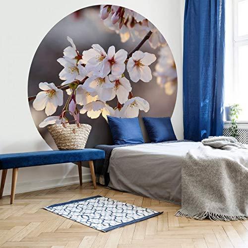 Tapete Fototapete Vlies Vliestapete Rund Kirschblütenzweig Schlafzimmer Wohnzimmer Wanddeko Tapetenpaneele inkl. Schablone (140x140 cm)