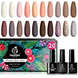 Beetles 20Pcs Gel Nail Polish Kit, Soak Off Nail Gel Polish Set Nude Glitter Pastel Pink Gel Nail Kit Peach Brown Natural Skin Tone Nail Art with Glossy & Matte Top Base Coat Gifts for Mother's Day