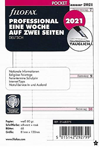 Filofax 2021 Kalender Pocket A7 Kalendarium 1Woche 2Seiten Professional Wochenblätter 21-68275