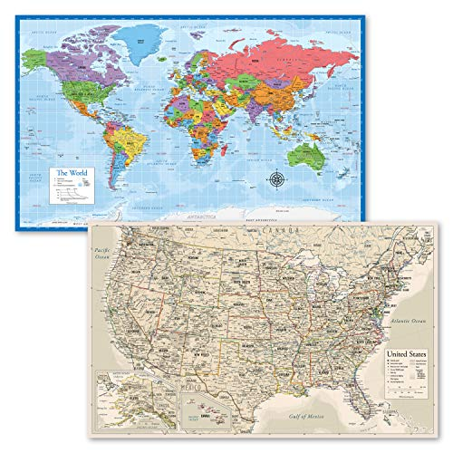 2 Pack - World Map Poster [Blue Ocean] & Antique Style USA Map (Laminated, 18 x 29)