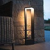 HEITRONIC Moderne Aluminium LED Sockelleuchte BONITA Außenleuchte schwarz Gartenleuchte