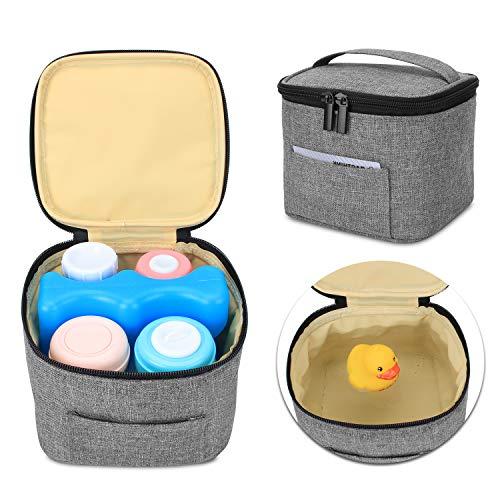 Luxja Muttermilch Kühltasche (Halten Sie 4 Muttermilchflaschen, 150 ml), Auslaufsicher Kühltasche für Milchtransport, Kühltasche für 120-150 ml Babyflaschen (Nur Tasche), Grau