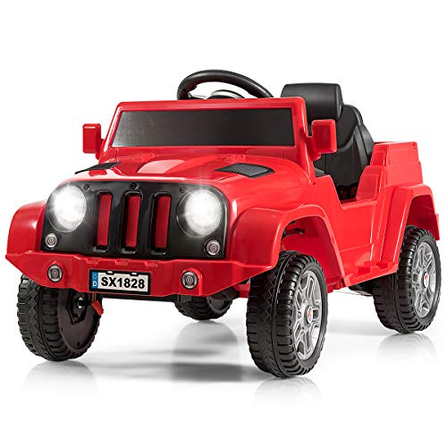 Costzon Kids Ride On Car, Battery Powered Electric Vehicle w/ 2.4G Parental Remote Control, LED Headlights, Music and MP3, High/Low Speed, Ride on Toy for Boys & Girls Age 3 to 6 (Red)