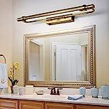 8W Vintage Luz LED de espejo de baño con interruptor aplique de pared rústica de bronce, Lámpara de baño impermeable, Luz...