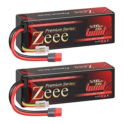 Zeee Batería de polímero de litio Serie 3S de 5200 mAh, 11,1 V, 100 C, con conector Deans en T para coches RC y aviones teledirigidos, helicópteros y hobby (2 unidades)