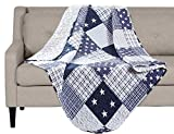 SLPR Americana Pride Quilted Throw Blanket - 50' x 60'   Patriotic Lap Quilt for Couch and Bed