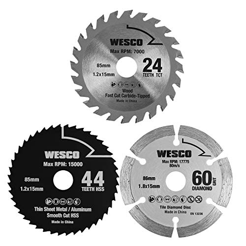 WESCO 3-teiliges Mini Kreissäge Sägeblatt Set, 85mm 24 Zähne TCT/ 85mm 44 Zähne HSS/ 86mm 60 GRIT DIAMOND Mini Handkreissäge Sägeblatt