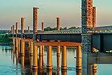 Yanton, South Dakota - New Discovery Bridge with Sunset Orange Light A-9011201 (18x12 Gallery Quality Metal Art)