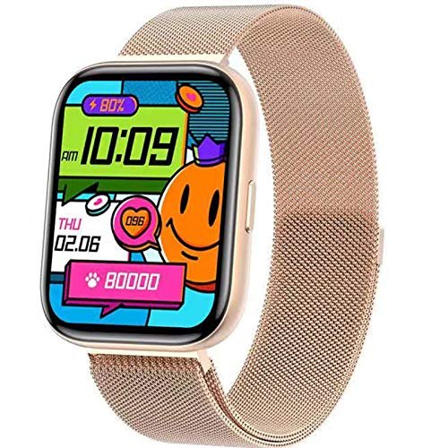 QFSLR Smartwatch, Reloj Inteligente Mujer Hombre con Oxigeno(Spo2), Monitor De Presión Arterial Contador Caloría Pulsómetros Pulsera Actividad Inteligente para Android Y iOS,Oro