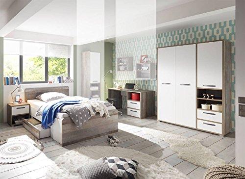 lifestyle4living Jugendzimmer, Jugendzimmermöbel, Kinderzimmer, Kinderzimmermöbel, Jugendmöbel, Kindermöbel, Driftwood, Weiß, 4-teilig, 120 x 200 cm