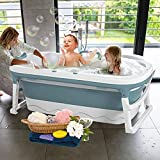 InLoveArts Bañera de bebé, bañera de ducha plegable con termostato abdeckung y tapón, drenaje rápido, baño antideslizante portátil para recién nacidos