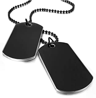 Army Style Double Dog Tag 2 pcs Pendant Necklace